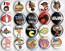 "1980's Toys 20 NEW 1"" buttons pins badge cartoon characters action figures"