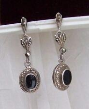 Vintage Sterling Silver Marcasite Earrings ~Drop Dangle Blk Onyx 925 pierced ear