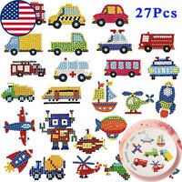 27Pcs 5D Cartoon Vehicle Diamond Painting Stickers Kits for Kids Art Crafts Toy