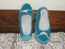 L.L. Bean Aqua Suede Moccasin Flat Shoes, Women's 9 M New