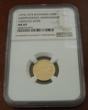 Bahamas 1975/1973 Oro NGC MS69 Independence Aniversario Tabaco Paloma