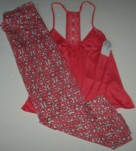 NWT In Bloom by Jonquil CORAL/WHITE Tapestry Slinky Knit Pajama/Lounge Set L