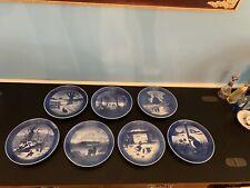 Lot Seven Royal Copenhagen Limited Edition Blue China Plates 1960s - 1970s