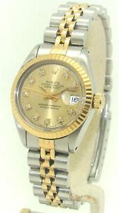 ROLEX SS/14K WOMEN's 26mm DATEJUST DIAMOND DIAL 6916 AUTOMATIC WATCH C.1982