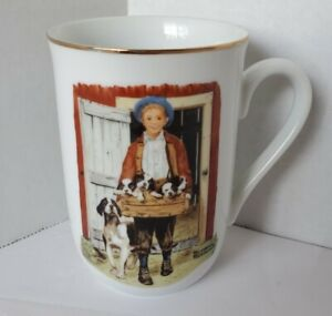 "Norman Rockwell Museum Collection Mug ""Puppy Love"" 1986 Vintage Coffee Cup Dog"