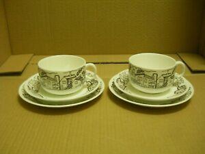 2 rare teacups and cake plates Gustavsberg Sweden 1978 porcelain