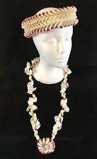 Vtg 3 Pc. Sea Shell Bridal Wedding Set Crown/Necklace Hawaiian Polynesian 1960's
