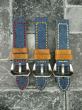 22mm BIG CANVAS Italian Leather Strap Blue Denim Watch Band Pre-V for PANERAI 22