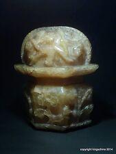 Antiguo Chino Tallado tibetano Mughal Fluorita Jade cetro Ruyi remate Florero