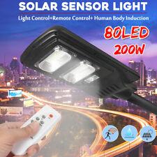 60W 80LED Solar Power Wall Street Light + Remote Control PIR Motion Induction