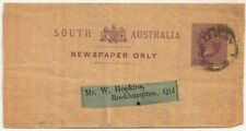 South Australia QV ½d postal stationery newspaper wrapper used 1880s->Queensland