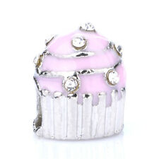 925 Silver Cupcakes Pink CZ Crystal Loose Spacer Charm Bead Fit Bracelet