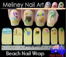Beach Nail Art Wraps Full Cover Stickers Holiday Sand Coconut