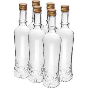 6 x 500 ml Flasche mit Schraubverschlüss leere Glasflaschen Weinflaschen