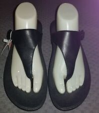 Fitflop Women's The Skinny Thong Flip Flops Sandals Black Faux Leather Sz 9 EUC
