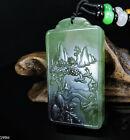 100% Natural Hand-carved Jade Pendant Jadeite Necklace landscape 199H