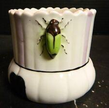 Vintage Scalloped Lavender Striped Art Pottery Vase w/ Beetles Czechoslovakia