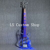 5 Strings LED Light Electric Bass Blule Color Acrylic Body H-H Pickups