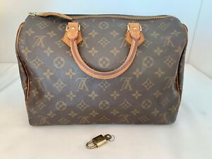 Authentic Louis Vuitton Speedy 30 Monogram Handbag Purse w/ Lock & Key