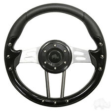 GOLF CART STEERING WHEEL BLACK GRIP /BLACK W/ADAPTER EZGO Combo(R)