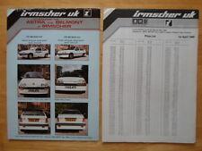IRMSCHER Vauxhall Astra & Belmont 1986 UK Mkt brochure + price list