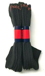 6 Pair Men HANES Black Cushion Casual / Work Low Cut Sock Size 13-15.USA