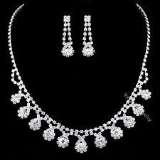 Bridal Wedding Jewelry Prom Rhinestone Crystal Necklace Earrings Set N347