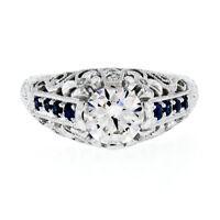 FINE 14K White Gold 1.35ct GIA Round Diamond & Sapphire Detailed Engagement Ring