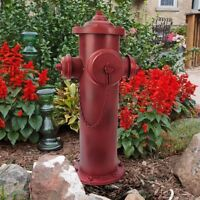 """23"""" Old School Vintage Style Fire Hydrant Statue Red Metal 3 Nozzle ~ New"""
