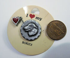 Borzoi Rawcliff Pewter Pin 1983 with Heart Pin Vintage