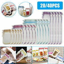 20Pcs/Set Reusable Mason Jar Bottles Zipper Snack Bags Seal Food Saver Storage