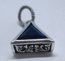 TRIANGLE LUCKY BLUE MISTIC QUART STERLING 925 SILVER MENS PENDANT
