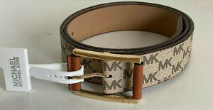 NEW! MICHAEL KORS MK LUGGAGE BROWN SIGNATURE LOGO LEATHER BELT MEDIUM $58 SALE