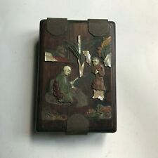 Small Antique Oriental Box, Decorated with Mother of Pearl, Jade, & Other
