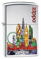 Zippo Regular London Scene Chrome Windproof Refillable Cigarette Petrol Lighter