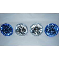 "5-3/4"" Halogen Diamond Crystal Clear Blue Headlight Headlamp 60/55W H4 Bulbs Set"