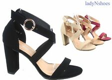 NEW Women's  Strappy Chunky High Heel Open Toe Sandal Dress Shoes Size 5 - 10