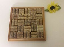 """Wooden Wine Cork Trivet Hot Pad Kitchen Cork Board French Country Framed 10"""""""