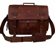 """18"""" Large Leather MESSENGER bag for men shoulder bag Men's Laptop BRIEFCASE bag"""