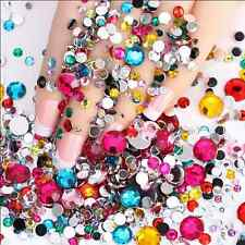 1000pcs Acrylic Nail Art Tips Gems Crystal Glitter Rhinestones DIY Decor MJ08