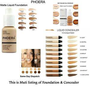 PHOERA Foundation Concealer Full Coverage Matte Brighten Makeup long lasting