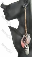 "BIG 9"" long FEATHER EARRINGS gold pltd chain NUDE PINK white/grey/black feathers"
