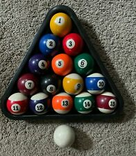 COMPLETE SET 2-1/4  INCH POOL BALLS WITH TRIANGLE RACK