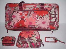Vera Bradley Bohemian Blooms Wheeled Carry On & Small Cosmetic & Pill &Tag NWT