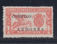 ANDORRA (1928) NUEVO SIN GOMA- EDIFIL 13 (20 cts)
