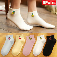 1/5 Pairs Cute Fruit Short Cotton Socks Women Girls Colorful Low Cut Ankle Socks