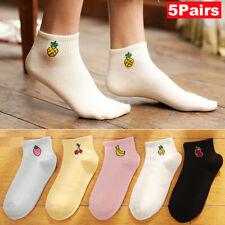 1/5 Pairs Cute Fruit Short Cotton Socks Women Girls Colorful Low Cut Ankle Socks