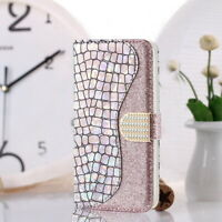 For Samsung Galaxy S20 Plus Note 10 S10 A70 Bling Leather Wallet Flip Case Cover