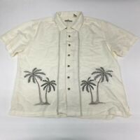 Batik Bay Button Up Shirt Men's 2XL Short Sleeve White Embroidered Hawaiian