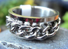 Women's Men's Ring Stainless Steel with Chain Silver Colour Band Ring